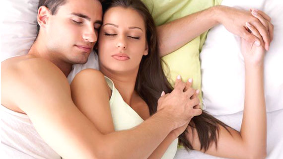 Happy Couples Cuddle At Night